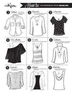 Helpful tips on picking the perfect necklace (or necklaces) for different necklines. www.initialoutfitters.net/lynettejeffres