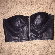 Faux leather bustier Like new! Sliver zipper! Tag says large but fits like a medium Tops Crop Tops