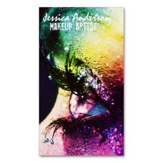 Rainbow Eyes Makeup Artist Business Card. I love this design! It is available for customization or ready to buy as is. All you need is to add your business info to this template then place the order. It will ship within 24 hours. Just click the image to make your own!