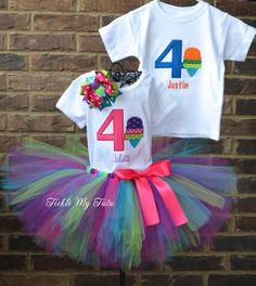 Boy/Girl Twin Ice Cream Themed Birthday Outfits by TickleMyTutu