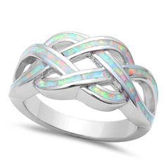 White Opal Celtic Design Infinity Cross Over Sterling Silver Ring Sizes 5-12 #Unbranded #InfinityCelticRing
