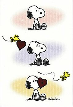 Happy Valentine's Day! - Snoopy and Woodstock (Woodstock flying a heart over to Snoopy)