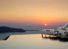 Grace Santorini Hotel Imerovigli, Greece Hotels Trip Ideas water sky Boat scene Sea horizon sunrise Sunset dawn morning dusk afterglow Ocean vehicle evening Coast Lake dock