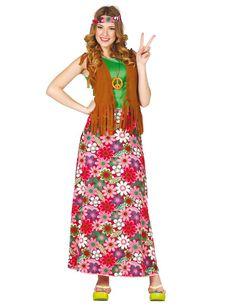 Hippie Retro Costume Rainbow lungo da donna 70er anni Festa Abito Taglia 44 46/% SALE/%