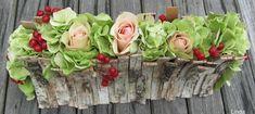 Herfststukje met schorsreepjes - bloemschikken herfst