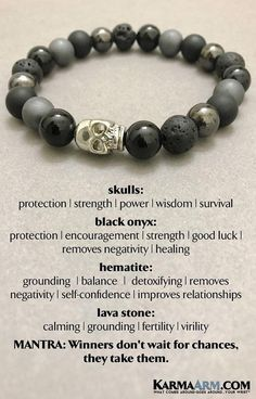 Beaded Bracelets | Reiki Healing | Mens & Womens Yoga Jewelry | #Skulls symbolize protection, strength, power, fearlessness, wisdom and guidance, and surviving through a difficult time. #Lava #Black #Onyx #BoHo #zen #reiki #Bracelets #BEADED #Gemstone #Mens #GiftsForHim #Lucky #womens #Jewelry #gifts #Chakra #FitMom #Gifts #Blog #Kundalini #LawofAttraction #LOA #Love #Mantra #Mala #wisdom #CrystalEnergy #Spiritual #Gifts #Blog #Mommy #Meditation