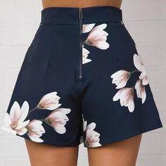 women sexy high waist zipped flower print wide leg dress shorts