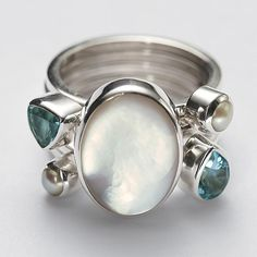 Cute gifts for mom 6 - Mother of Pearl + Blue Topaz Stacking Rings - personalized Boho Jewelry, Jewelry Art, Jewelry Rings, Jewelery, Silver Jewelry, Jewelry Design, Silver Rings, Unique Jewelry, Unique Rings