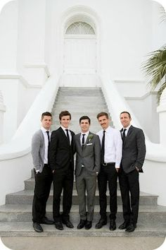 Love this idea! would definately consider the mixture of suits for my wedding! out of the ordinary! My bros and dad would be so handsome!
