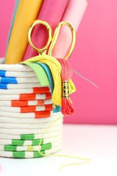 DIY-Colorido Cesto en Cuerda-7