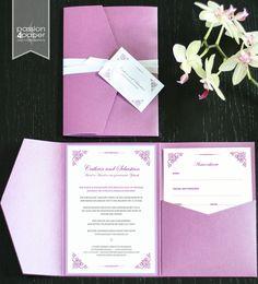 Elegante Pocketfold-Einladung in Creme, Altrosa und ...