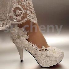 """2/3/4 """"cinta de encaje blanco/marfil Tacones Cristal Perla Boda Zapatos Novia Talle 5-12"""