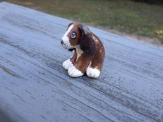 Miniature Hound Dog Hand sculpted paper clay  by ADragonflysFancy