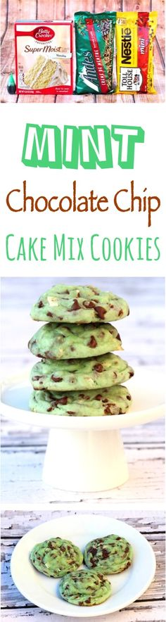 This Mint Chocolate Chip Cookie Recipe is so EASY to make, and tas… Mint Recipes! This Mint Chocolate Chip Cookie Recipe is so EASY to make, and tastes just like your favorite ice cream flavor! Just 6 simple ingredients, and so delicious! Mint Chocolate Chip Cookies, Mint Cookies, Cake Mix Cookies, Yummy Cookies, Cookies Et Biscuits, Chocolate Cake, Super Cookies, Cream Cookies, Chocolate Snacks