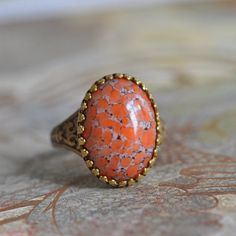 Coral Ring. Vintage glass and brass