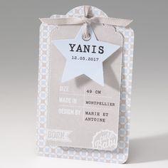 Faire-part de naissance - Cute baby label  Faire-part de naissance de papier luxe avec ruban