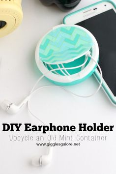 DIY Earphone Holder made from an upcycled mint container.  Keep your earphones tangle free and take them with you no matter where you go with this handy DIY Earphone Holder. #ad #songstoshare