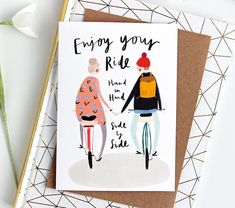Quirky Love card for Couples – Romance card, wedding card, engagement card, valentine's card, retirement card by Katy Pillinger Designs – The Best Ideas Anniversary Card For Parents, Anniversary Greeting Cards, Wedding Anniversary Cards, Wedding Cards, Paar Illustration, Couple Illustration, Bicycle Illustration, Love Cards For Him, Valentines Illustration