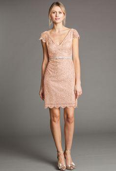 "Brides.com: Trending Now: Pretty Peach Bridesmaid Dresses. Style 1467, ""Bridgitte"" V-neck lace cap-sleeve dress, $320, Jenny Yoo Collection"