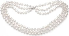 #Jewelry #Pearls 14k White Gold 3-Rows 6.5-7mm White Akoya Cultured Pearl Round Pressure Clasp Necklace, 16 Inches