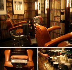 From top clockwise: Barbers chairs, Pankhurst products cabinet, Belmont barber chair.    Photography by Harry Watts