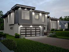 Exterior Design, Contemporary House Facade With Black Modern Garage ...