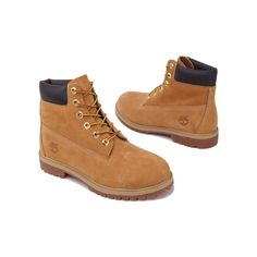 Timberland Premium 6 Inch Waterproof Boots Wheat ($130) ❤ liked on Polyvore featuring shoes, boots, ankle booties, ankle boots, lace-up ankle booties, waterproof ankle boots, lace-up booties, waterproof booties and lace-up ankle boots