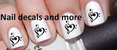 50+ pc of Music Note Heart Nail Decals Art Nail Decal Nail Art StickersJH 291