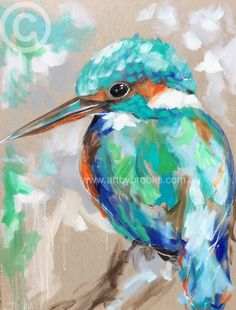 Little Kingfisher 75x100cm Original Hand painted with acrylic , ink and oil on artist linen canvas made to the highest standard. Simply the best products are used to ensure they are among the finest avail | canvas originals are ready to hang art.by.brooks POA