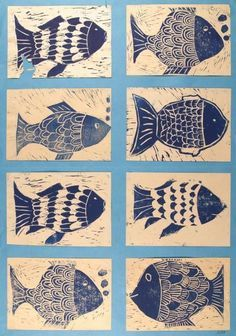 Most current No Cost Printmaking fish Ideas Printmaking will be the process of creating artworks by making, typically on paper. Printmaking commonly insures just t Middle School Art, Art School, Arte Elemental, Art For Kids, Crafts For Kids, Stamp Carving, Fish Art, Fish Fish, Linocut Prints