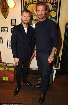 Lads: Beckham was joined inside the venue byDaniel Kearns, Kent & Curwen Creative Director on November 16, 2016