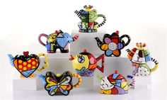 Romero Britto - Selection of his Pop art Teapots ♥❤♥