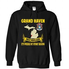 Grand Haven - Its where my story begins! - #baby gift #grandma gift. ORDER NOW  => https://www.sunfrog.com/No-Category/Grand-Haven--Its-where-my-story-begins-8112-Black-Hoodie.html?id=60505