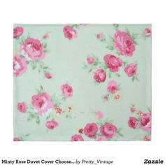 Minty Rose Duvet Cover Choose Size