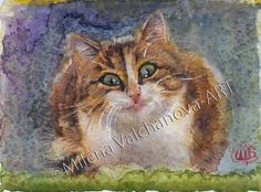 """""""Smirk"""" One of a kind-Artist Artwork-14/20sm-Original by MilenaOriginalArt This is an original watercolor painting with passepartout. Each painting is my original and unique work. Signed on the front side ,with my own stamp. From My Art Collection."""