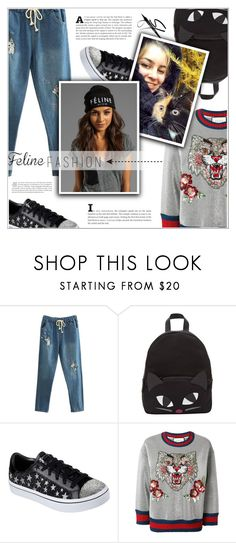 """The Cat's Meow: Feline Fashion"" by shambala-379 ❤ liked on Polyvore featuring Lulu Guinness, Skechers, Gucci and felinefashion"