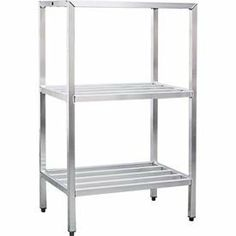 "Aluminum Heavy Duty 3-Shelf Rack, 24""Wx60""Hx36""L by NEW AGE INDUSTRIAL CORP.. $299.95. Aluminum Heavy Duty 3-Shelf Rack, 24""Wx60""Hx36""L Shelving Unit, all welded bar Style, 3 shelf unit, aluminum construction, weight capacity 1500lbs. Per shelf, NSF. Manufacturers Lifetime Warranty on Construction and Against Rust and Corrosion. 36.25 L. 24.50 W. 60.25 H."