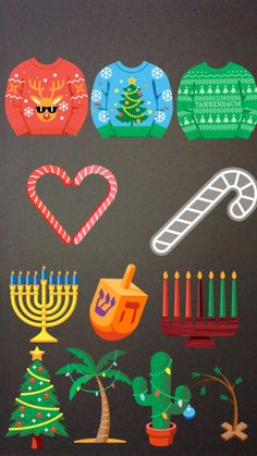 Many of the Instagram seasonal Stickers can be tapped to reveal different designs, like these different sweaters, candy cane designs, Hannukah icons, and Christmas Trees