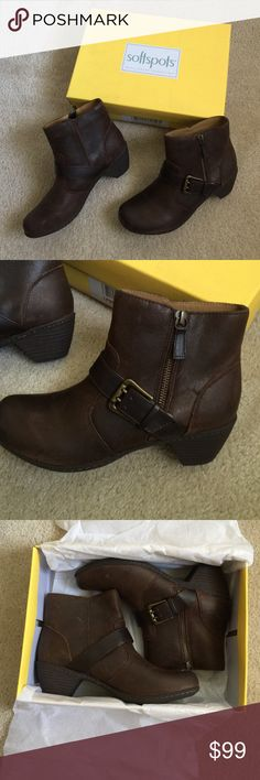 """Saffron Booties Very very comfy boots. """"Pillow top technology"""" size 7, coffee colored Shoes Ankle Boots & Booties"""