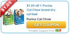 $1.05 off 1 Purina Cat Chow brand dry cat food
