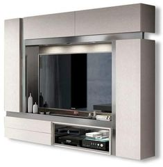 Orren Ellis Jeramiah Entertainment Center for TVs up to 75 inches Color: Gloss Contemporary Entertainment Center, Entertainment Center Kitchen, Repurposed Furniture, Cheap Furniture, Furniture Design, Furniture Removal, Kitchen Furniture, Furniture Ideas, Basement Movie Room
