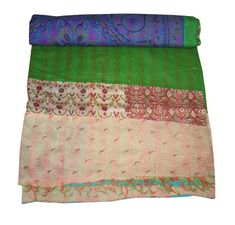 issued after receipt of the item in proper condition. Kantha Quilt, Quilts, Silk Blanket, Silk Bedding, Kantha Stitch, Quilted Bedspreads, Patchwork Designs, Recycled Fabric, Bed Throws