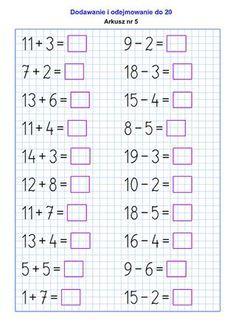 Generator arkuszy – Działania w pamięci – SuperKid Math Addition Worksheets, Math Practice Worksheets, First Grade Math Worksheets, Free Printable Math Worksheets, School Worksheets, 1st Grade Math, Basic Math, Homeschool Math, Teaching Math