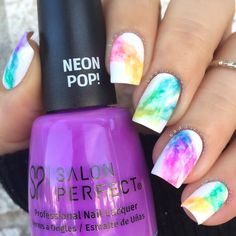 "Sonia on Instagram: ""Rainbow smoke Re-did last year's #420 nails over a white base Featuring @salonperfect ""Purple Pop"" This technique was originally inspired by @chalkboardnails Tutorial coming soon"""