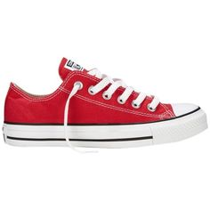 Converse Chuck Taylor All Star Canvas Ox Low-Top Trainers , Red ($70) ❤ liked on Polyvore