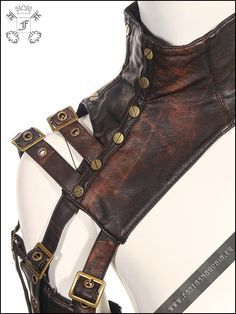 Steampunk armor RQBL-SP093. Steampunk style accessory garment - choker with  an armband and removable writband f301564bea