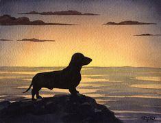 "DACHSHUND Art Print ""Dachshund at the Beach"" signed by Watercolor Artist DJ Roger Art Print ""Dachshund at the Beach"" signed by Watercolor Artist DJ Rogers Arte Dachshund, Dachshund Gifts, Dachshund Love, Daschund, Scottish Terrier, Chihuahua, Animal Art Prints, Weenie Dogs, Doggies"