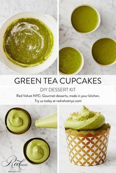 Infused with green tea powder, these moist and bright cupcakes are a mature take on the birthday-party classic. Includes 24 oven-safe gold and white cupcake cups. Green Tea Cupcakes, Matcha Cupcakes, Cupcake Recipes, Cupcake Cakes, Dessert Recipes, Dessert Food, Green Tea Recipes, Sweet Recipes, Gourmet Desserts