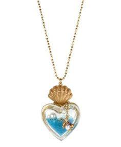 Betsey Johnson Necklace, Gold Tone Heart Bottle Pendant Long Necklace ...
