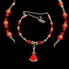 #reddress #fun #necklace. #Enamel, #coral, #silver-plated elements, #glass #pearls, #extended chain. $ 55USD, free shipping within US